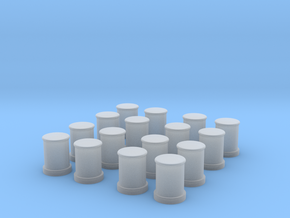 1/96 DKM Bollards Set x16 in Smooth Fine Detail Plastic