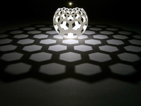 Honeycomb (stereographic projection) in White Natural Versatile Plastic