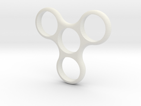 Triweighted Fidget Spinner in White Natural Versatile Plastic