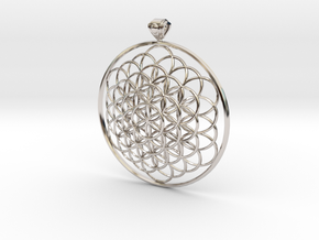 Flower Of Life Pendant 6cm Fancy Loopet in Rhodium Plated Brass
