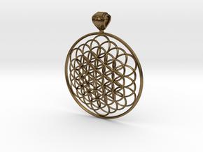 Flower Of Life Pendant 6cm Fancy Big Loopet in Natural Bronze