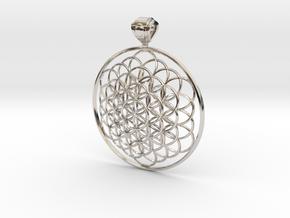 Flower Of Life Pendant 6cm Fancy Big Loopet in Platinum
