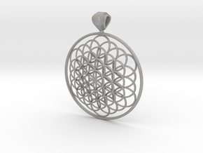 Flower Of Life Pendant 6cm Fancy Big Loopet in Aluminum