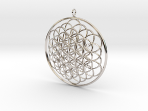 Flower Of Life Pendant - w Loopet - 6cm in Platinum