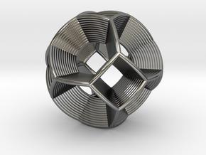 0412 Spherical Truncated Octahedron (d=6cm) #004 in Fine Detail Polished Silver