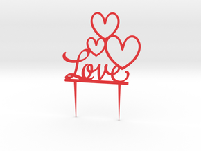 Hearts&Love Cake Topper in Red Strong & Flexible Polished