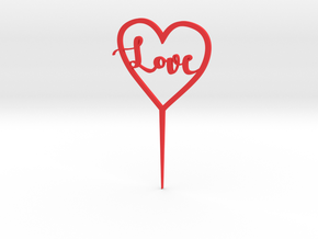 Love inside Heart Cake Topper in Red Strong & Flexible Polished