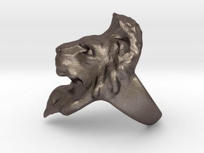 Lion Ring 20.68mm (size 11) in Polished Bronzed Silver Steel