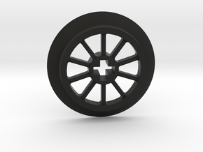 Medium Small Thin Train Wheel in Black Natural Versatile Plastic