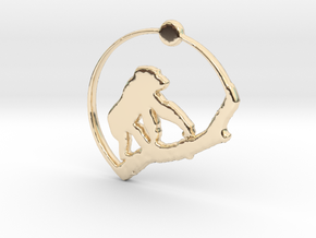 Gorilla Pendant in 14K Yellow Gold