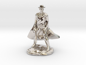 Drow with Mask and Rapier in Rhodium Plated Brass