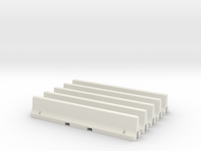 N Scale 5x Jersey Barrier in White Natural Versatile Plastic