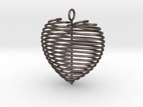 Coiled Heart with Bail in Polished Bronzed Silver Steel: Small