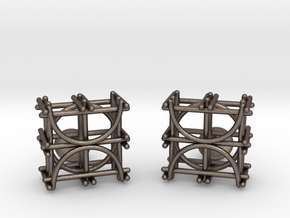 Architecture Cufflinks in Polished Bronzed Silver Steel