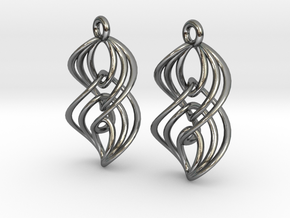 Interlocking Twisted Ellipses in Polished Silver (Interlocking Parts)
