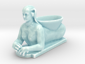 Egyptian Sphinx Planter in Gloss Celadon Green Porcelain