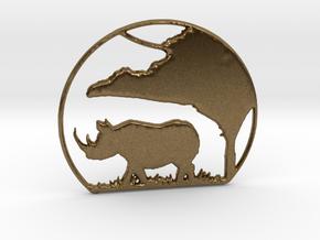 Rhino Pendant in Natural Bronze