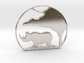 Rhino Pendant in Rhodium Plated Brass