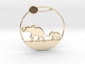 The Elephants Family Pendant in 14K Yellow Gold