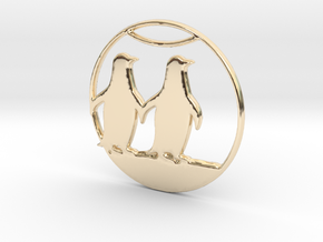The Penguins Couple Necklace in 14k Gold Plated Brass