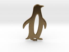 Minimalist Penguin Pendant in Natural Bronze: Large