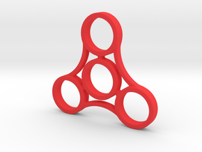 Large Triple Sided Fidget Spinner in Red Processed Versatile Plastic