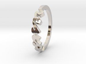 Resist Script Ring in Rose Gold Plated in Rhodium Plated Brass: 7 / 54
