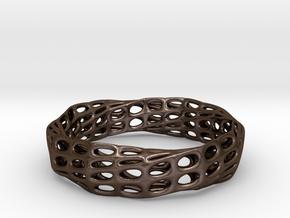 Mobius Band Voronoi Bracelet (003) in Polished Bronze Steel