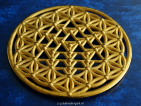 64 Tetrahedron Grid - Flower of life in Polished Gold Steel