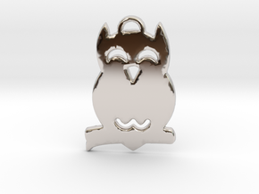 Hooting Owl in Tree™ Pendant in Rhodium Plated Brass
