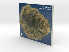 La Gomera Map, Canary Islands - Large in Coated Full Color Sandstone