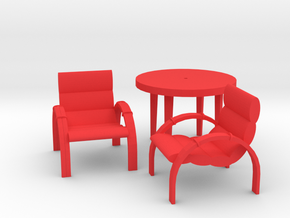 Patio Table With 2 Chairs in Red Processed Versatile Plastic