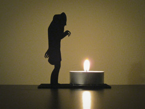 Tea Light Nosferatu in Black Natural Versatile Plastic
