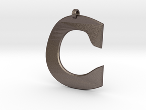Distorted letter C in Polished Bronzed Silver Steel