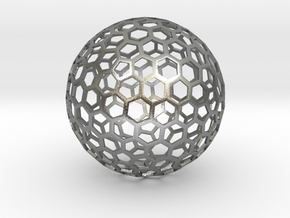 honeycomb sphere - 60 mm in Natural Silver