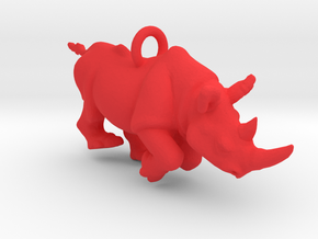 Rhino Pendant in Red Processed Versatile Plastic