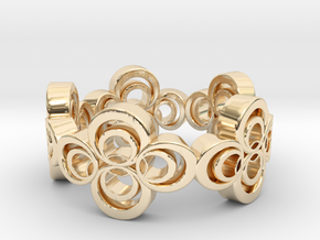 Nouveau Ring 2: Four Leaf Clover in 14k Gold Plated Brass
