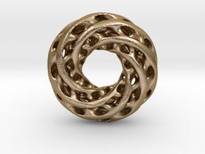 0625 IsoSurface F(x,y,z)=0 Diamond Tori [6] d=8cm in Polished Gold Steel