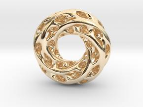 0611 IsoSurface F(x,y,z)=0 Diamond Tori [5] d=5cm in 14k Gold Plated Brass