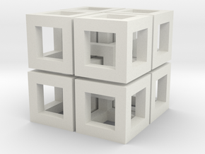 Impossible Cubes in White Natural Versatile Plastic