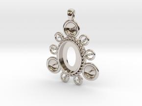 "Pendant ""Ursula"" in Rhodium Plated Brass: Large"