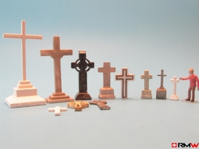 HO/1:87 Cemetry set 1 - crosses kit in White Strong & Flexible