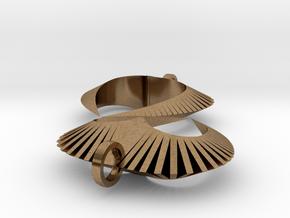 Modern Heart Earrings in Natural Brass