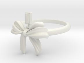 Bow Ring Ribbon in White Natural Versatile Plastic