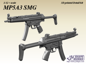 1/12+ MP5A3 SMG in Smoothest Fine Detail Plastic: 1:12