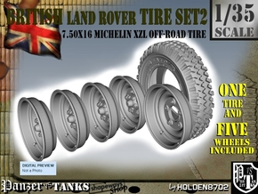1-35 Land Rover 750x16 Tire And Wheels Set2 in Smooth Fine Detail Plastic