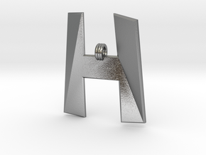 Distorted letter H in Natural Silver