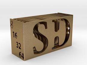 Memory Card Holder in Polished Gold Steel