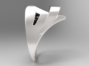 Wind Ring S B in Polished Silver: 10 / 61.5