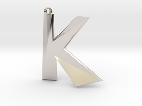 Distorted letter K in Rhodium Plated Brass